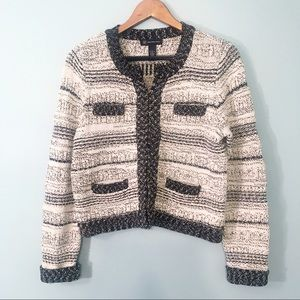 INC Black & White Knit Cardigan